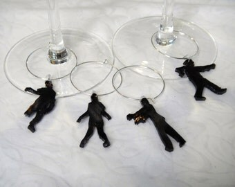 """zombie wine charms, set of 4, made from 100% recycled plastic """"shrinky dink"""""""