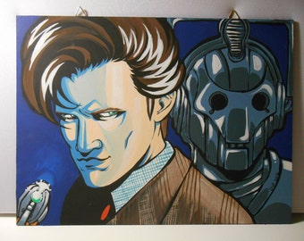 Doctor Who eleventh doctor and Cyberman - Canvas 30x40