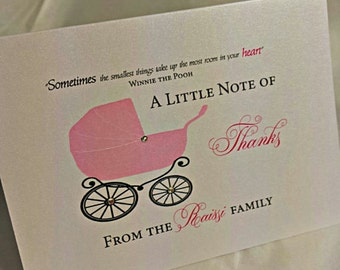 Baby Carriage Thank You Card -- Custom Thank You Card