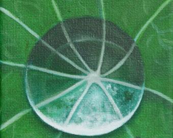 Rain Drop on Fern - Oil on canvas