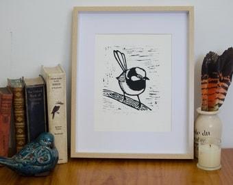 Linocut Bird lino print, original art, Wren linoleum print