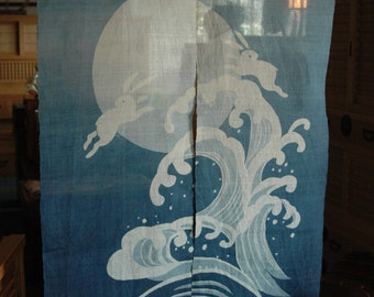 "traditional linen noren, door way curtain. rabit and full moon on wabe on blue (WE05-134) 35""W x 59""L"