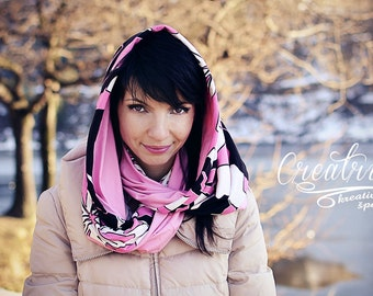 Pink and Black Scarf - Black and Pink Infinity Cowl - Pink Infinity Scarf - Pink Infinity Wrap - Pink Cotton Cowl - Black White Pink