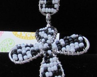 Black And White Beaded Bracelet, Flower Bracelet, Elegant Bracelet,Jewelry,Bracelets,Accessories,Seed Bead Jewelry,Cuff Bracelet,Bead Bangle