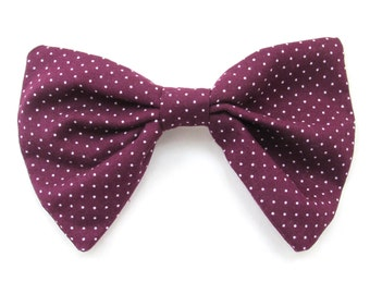 Purple Polka Dot Hair Bow Hair Care Hair Accessories Adult Hair Clip Bows Vintage Hair Bows Pretty Bows Girls Hair Bows French Barrette