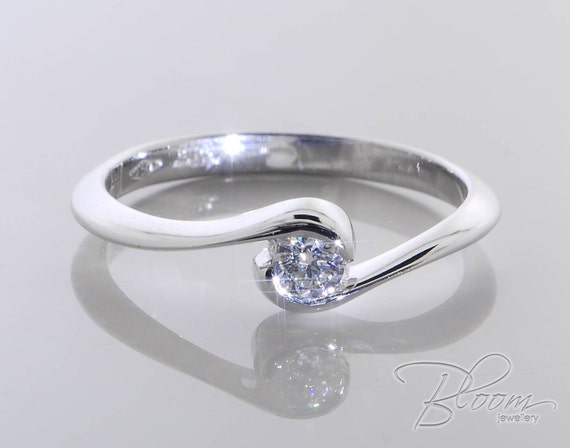bezel engagement ring low profile engagement ring by