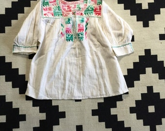 Cotton, embroidered peasent top