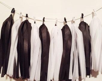 Black white tassel garland