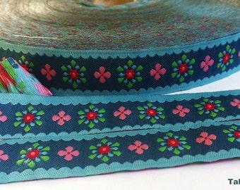 1m woven ribbon: vintage flower