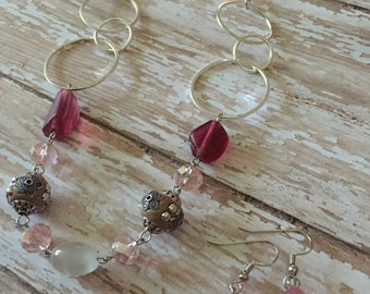 Pink/Silver Necklace Earring Set