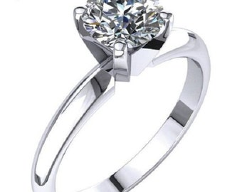 1.00 ct Diamond Engagement Ring Solid 14K White Gold Solitare