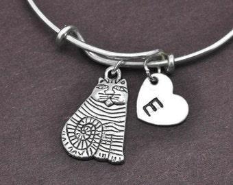Cat Bangle, Sterling Silver Bangle, Cat Bracelet, Bridesmaid gift, Personalized Bracelet, Charm Bangle, Initial Bracelet