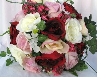 Silk Red , pink and ivory bride bouquet  nosegay style 2pc