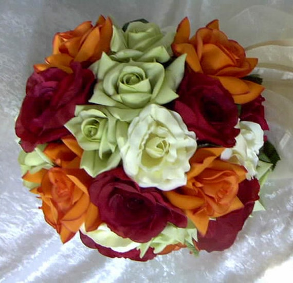 Bride bouquet red, orange, green and ivory silk nosegay style