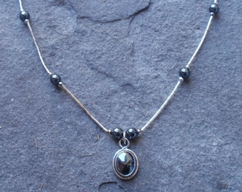 Hematite and silver necklace, jewelry