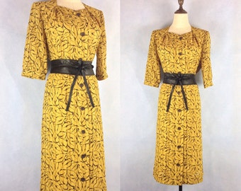 Japanese Summer Vintage Dress with Geometric Pattern size M