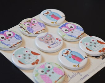 9 Big Owl Buttons 1 1/4 Inch