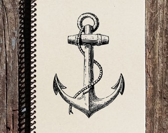 Anchor Notebook - Nautical Notebook - Nautical Journal - Anchor Journal - Nautical Stationary - Gift for her - Gift for Him
