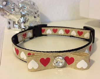 Burlap/heart print with bow and rhinestone