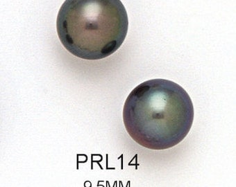 14K Solid Yellow Gold Genuine Black Fresh Water Pearl Ball Stud Earrings (Available in Multiple Sizes)