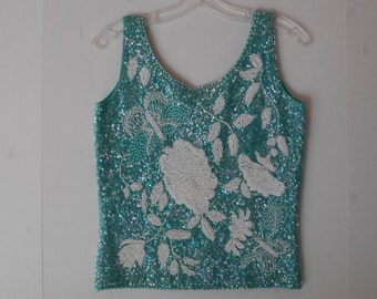 1960s Wool Beaded Sequins Top by Cardelli Excellent Condition Sleeveless