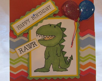 """Litte guy in T Rex costume, Happy Birthday Card, for your dino lover, """"Happy Birthday Wild Thing"""""""