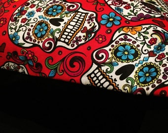 Skull Cushion - Red Sugar Skull 45cm x 45cm (Cover Only)