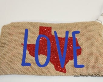 Burlap Texas Love Wristlet // Pouch // Coin Purse // Makeup Bag