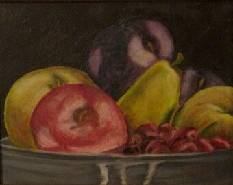 Detail study of still life of a Bowl of Fruit,  small oil painting, framed and ready to hang, free shipping in the USA