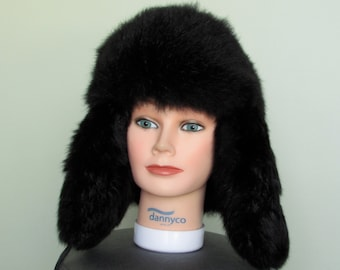 Black opossum fur hat