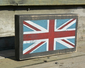 Wood Union Jack sign.  Rustic British flag.  Free standing English flag.  Distressed wood flag.