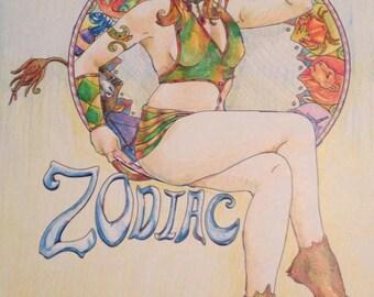 Zodiac Art Nouveau Digital Poster