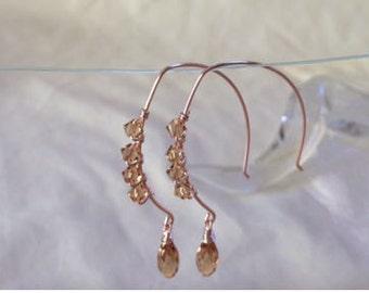 Golden Elegance - Tear drop hoop earrings w wire wrapped Swarovski crystals