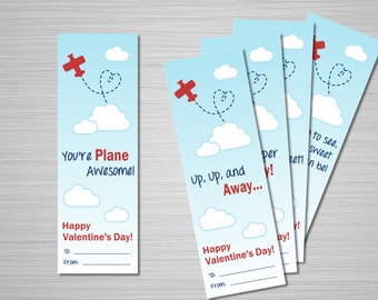 "Airplane Valentine's Printable Download - Set of 5 Valentine Bookmarks - 2""X6"" - Plane Valentines - Classroom Valentine Cards"