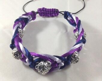 Purple with dark blue macramé bracelet with silver beads
