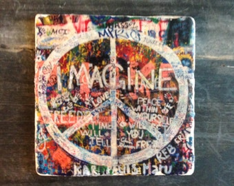 Imagine Peace Beatles Graffiti Coaster or Decor Accent