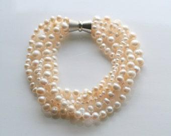 Pearl, layer, bridal, bracelet - MARILYN PEARL