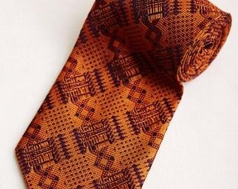 80s Abbey Orange & Purple Tie