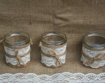 Set of 3  beautiful Jars decorated with hessian, ivory lace and hessian string