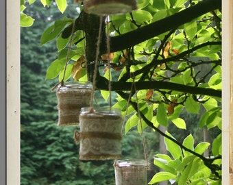 Set of 3 Hanging hessian elegant decoration jars