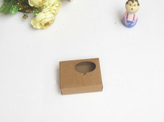 100pcs 7 6 6 1 2 6cm kraft paper box with window handmade for 100 cm window box