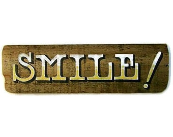 Hand Lettered Sign, Rustic Wood, Smile, Photo Booth, Yellow, White, Happy