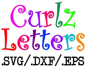 Curlz Font Design Files For Use With Your Silhouette Studio Software DXF Files SVG Font EPS Files Svg Fonts Curlz Silhouette