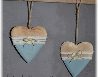 lot 2 suspensions wooden heart, twine and canvas