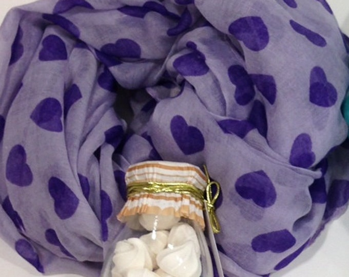 Purple Hearts Scarf Christmas Gifts Fall Scarf Purple Scarf Hearts Scarf Valentine Scarf Gift For Her Heart Scarf Purple Shawl Hears Shawl