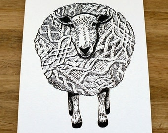 Wooly Knit Sheep Letterpress Print