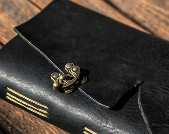 Black Leather Journal | Handmade with Brass Clasp | Handstitched in the U.S.A. | Personalized Leather Journals