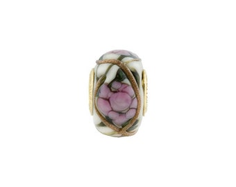PERLAVITA Large Hole Murano Glass Off-White with a Pink Peony Flower and Vermeil Insert