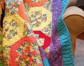 Bright and Colorful Pinwheel Shoofly Quilt