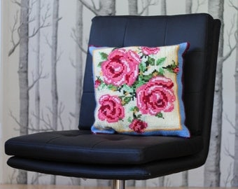 Vintage rose tapestry cushion